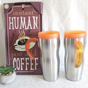2 Starbucks Stainless Handled Tumblers Travel Mugs